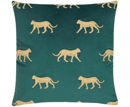Geborduurde fluwelen kussenhoes Cheetah in groen/goudkleur, Polyester fluweel, Donkergroen, goudkleurig, 40 x 40 cm