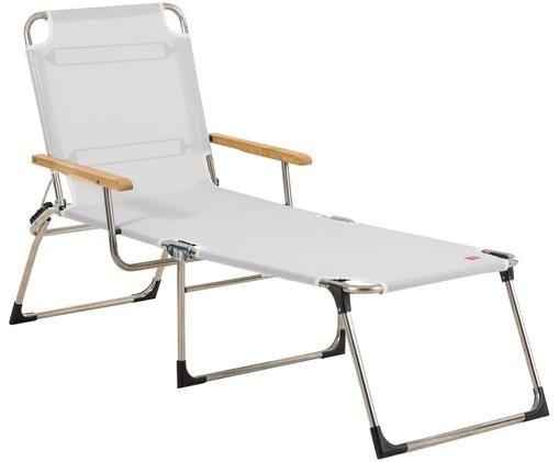 Leżak ogrodowy Amigo, Stelaż: aluminium, Tapicerka: tkanina z tworzywa sztucz, Srebrnoszary, drewno robinia, S 190 x G 69 cm