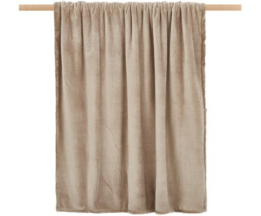 Weiches Fleece-Plaid Doudou in Taupe, Polyester, Taupe, 130 x 160 cm