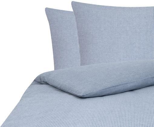 Flanell-Bettwäsche Rae, fein gestreift, Webart: Flanell, Blau, Weiß, 240 x 220 cm