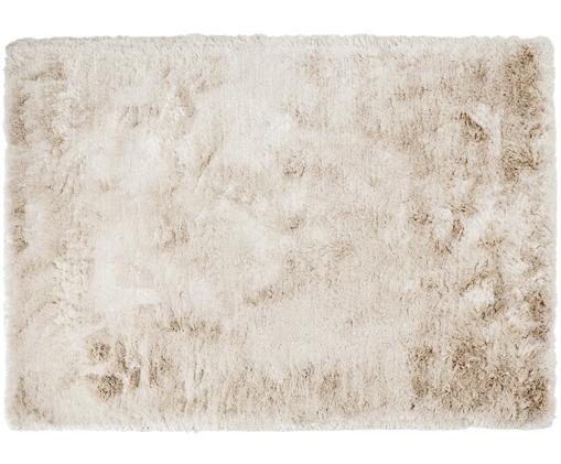 Alfombra tejida a mano de pelo largo Jimmy, Parte superior: 100%poliéster, Reverso: 100%algodón, Marfil, An 160 x L 230 cm