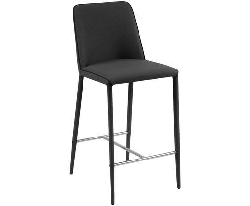 Sedia da bar Lene, Rivestimento: grigio scuro Gambe: grigio scuro Poggiapiedi: metallo, croma