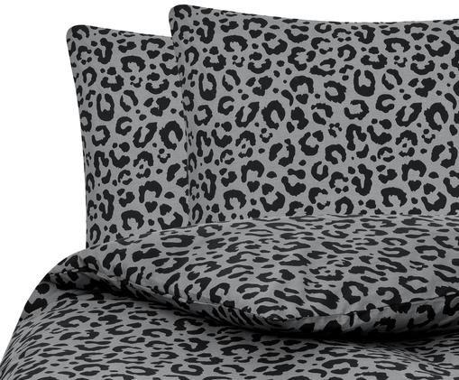 Pościel z perkalu Leopard, Szary, czarny