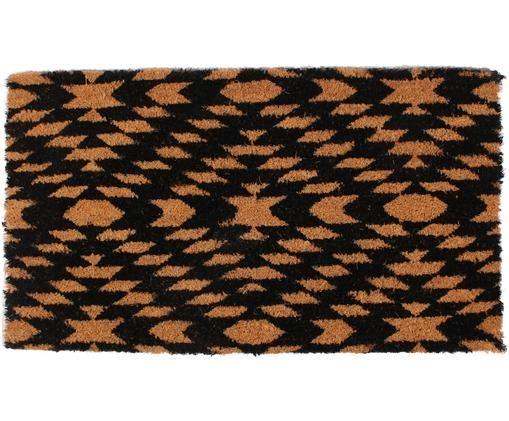 Fußmatte Arreo, Oberseite: Kokosfaser, Unterseite: PVC, Beige, Schwarz, 40 x 70 cm