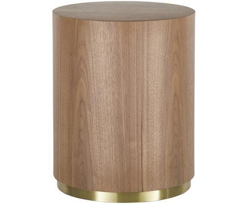 Table d'appoint Clarice, Corps: placage en bois de noyer Pied: couleur dorée, brillant brossé