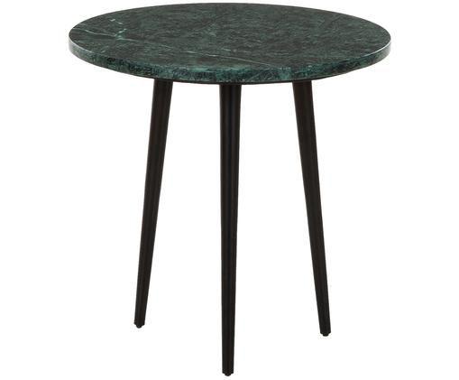 Mesa auxiliar redonda de mármol Bryant, Tablero: mármol natural, Patas: metal, pintura en polvo, Tablero: mármol verde Patas: negro mate, Ø 40 x Al 40 cm