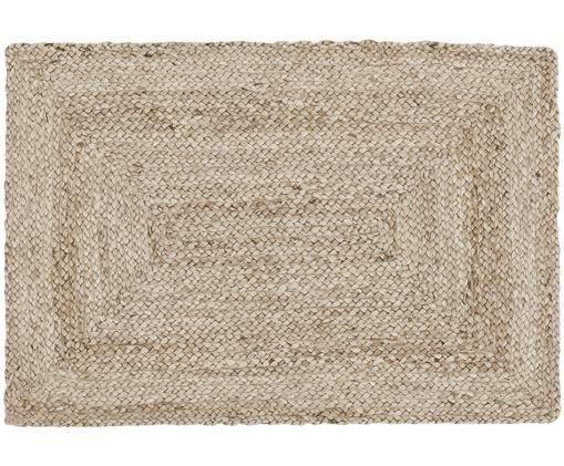 Alfombra artesanal de yute Sharmila, Parte superior: yute, Reverso: yute, Beige, An 60 x L 90 cm (Tamaño XXS)