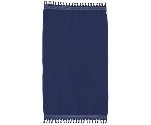 Telo da spiaggia Soft Cotton, Retro: Terry, Blu scuro, bianco, Larg. 100 x Lung. 180 cm