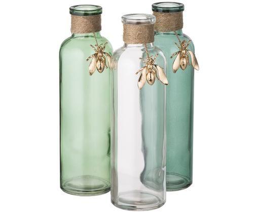 Set vasi Bee, 3 pz., Verde, trasparente