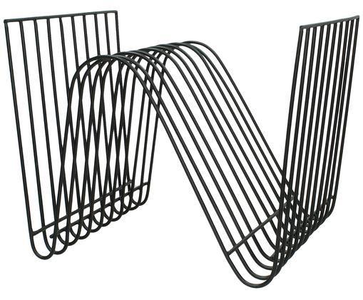Zeitschriftenhalter Wire, Metall, lackiert, Schwarz, 32 x 26 cm