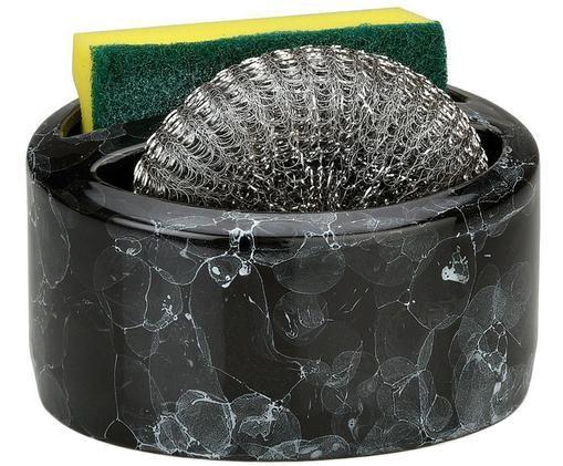 Súprava držiaka na špongie Bubble, 3 diely, Mramorová čierna