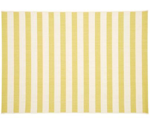 Tappeto da interno-esterno a righe Axa, Retro: poliestere, Bianco crema, giallo, Larg.160 x Lung. 230 cm  (taglia M)
