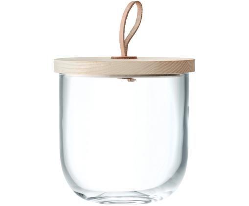 Opbergpot Ivalo, Transparent, eikenhout