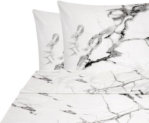 Parure copripiumino in percalle Malin, Tessuto: percalle, Fronte: modello in marmo, rosa Retro: rosa, uni, 240 x 300 cm
