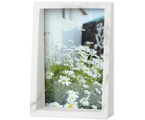 Bilderrahmen Edge, Polyresin mit Marmor-Optik, Weiß, 10 x 15 cm