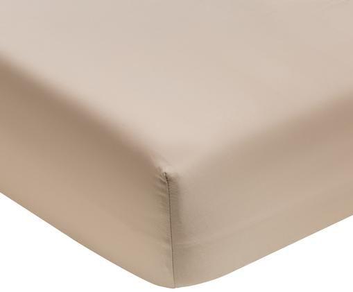Lenzuolo con angoli in  raso di cotone Premium, Tessuto: raso, leggermente lucido, Taupe, Larg. 160 x Lung. 200 cm