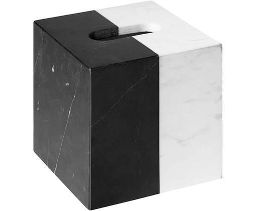 Pudełko na chusteczki z marmuru Canaan, Marmur, Czarny, biały, S 13 x W 12 cm