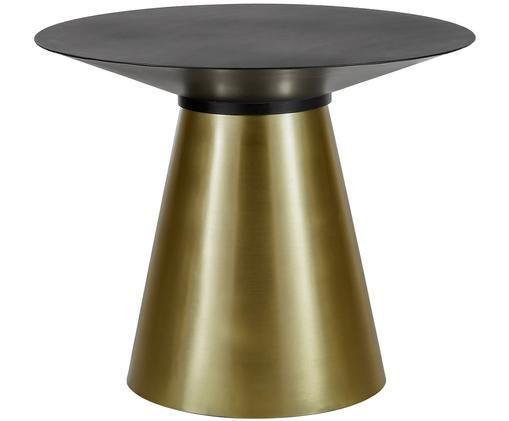 Runder Esstisch Selena mit schwarzer Platte, Tischplatte: Metall, pulverbeschichtet, Gestell: Metall, beschichtet, Tischplatte: Schwarz, mattGestell: Goldfarben, matt, Ø 91 x H 75 cm