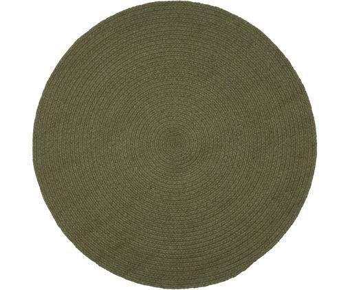 Okrągły dywan z bawełny z recyklingu Moon, Bawełna z recyklingu, Khaki, Ø 90 cm