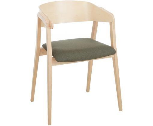Sedia con braccioli Klara in legno di faggio, Rivestimento: poliestere 50.000 cicli d, Struttura: legno di faggio massiccio, Grigio, marrone chiaro, Larg. 52 x Prof. 48 cm