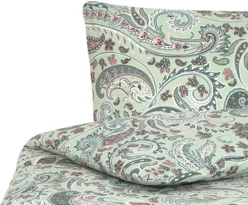 Renforcé-Bettwäsche Liana mit Paisley-Muster, Webart: Renforcé, Grün, Mehrfarbig, 135 x 200 cm