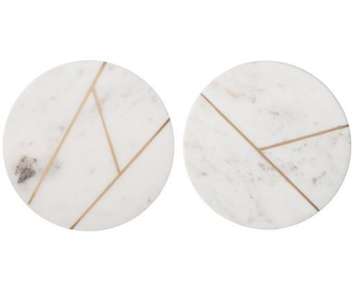 Marmorplatten-Set Marble, 2-tlg., 100% Marmor, Weiß, marmoriert, Goldfarben, Ø 18 cm