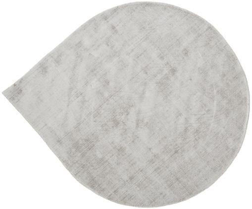 Handgewebter Viskoseteppich Jane Drop in Tropfenform, Flor: 100% Viskose, Hellgrau-Beige, Ø 150 cm