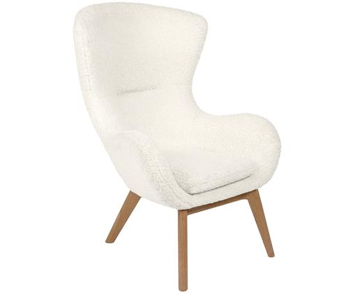 Teddy fauteuil Wing, Bekleding: polyester (teddy), Poten: gelakt massief hout met e, Crème wit, B 77 x D 89 cm