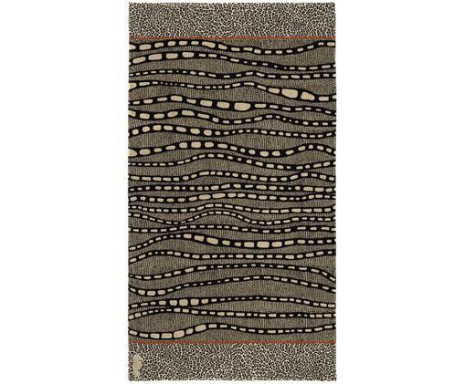 Ręcznik plażowy Idris, Welur (bawełna) Średnia gramatura, 420g/m², Odcienie brązowego, odcienie beżowego, czarny, pomarańczowy, S 100 x D 180 cm