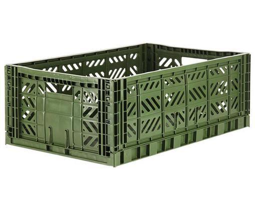 Cestino pieghevole kaki, impilabile, grande, Materiale sintetico riciclato, Cachi, Larg. 60 x Alt. 22 cm
