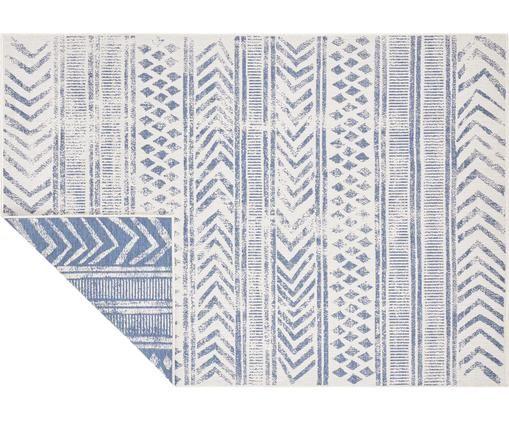 Gemusterter In- & Outdoor-Wendeteppich Biri in Blau/Creme, Polypropylen, Blau, Creme, B 80 x L 150 cm (Größe XS)