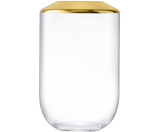 Mundgeblasene Vase Space, Glas, Transparent, Goldfarben, Ø 17 x H 25 cm