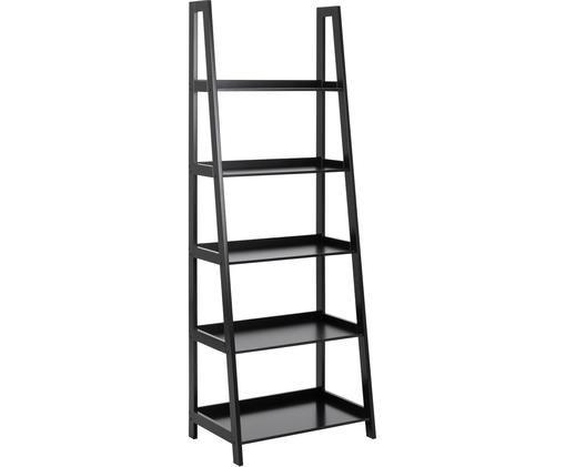 Libreria a scala in nero Wally, Pannello di fibra a media densità (MDF), verniciato, Nero, Larg. 63 x Alt. 180 cm