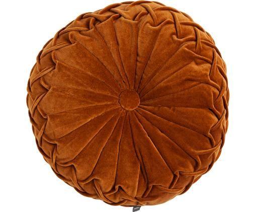Coussin rond en velours froncé Kanan, Terre cuite, blanc crème