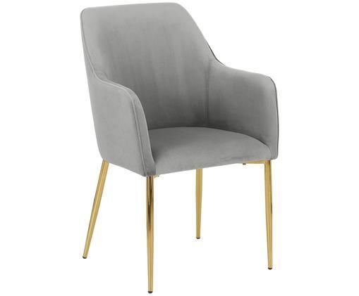 Samt-Armlehnstuhl Ava mit goldfarbenen Beinen, Bezug: Samt (Polyester) 50.000 S, Beine: Metall, galvanisiert, Grau , B 57 x T 63 cm