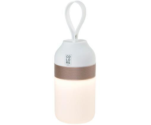Outdoor LED lamp met luidspreker Colors, Frame: metaal, Lampenkap: kunststof, Wit, koperkleurig, Ø 7 x H 16 cm