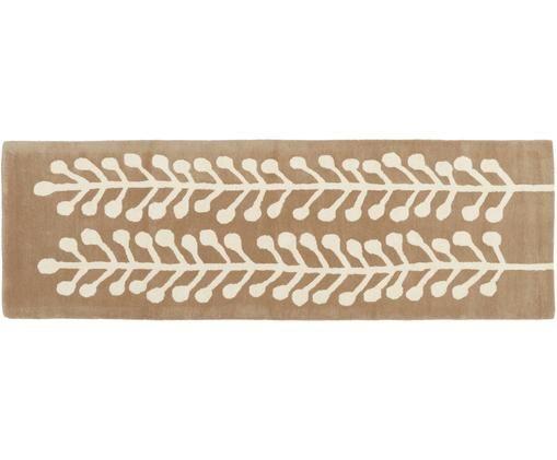 Wollläufer Wool Herbs, Flor: Wolle, Hellbraun, Creme, 80 x 250 cm