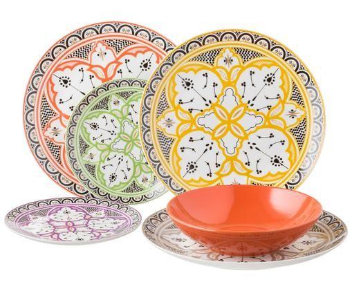 Servizio piatti Marocco, set di 18, Multicolore, Diverse dimensioni