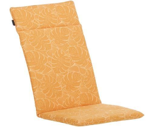 Cuscino sedia con schienale e stampa tropicale Palm, 50% cotone, 45% poliestere, 5% altre fibre, Giallo, Larg. 50 x Lung. 120 cm