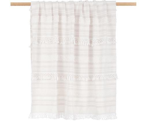 Pled z bawełny z frędzlami Nara, 100% bawełna, Kremowy, beżowy, S 130 x D 170 cm