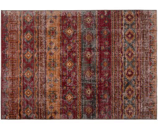 Dywan wewnętrzny/zewnętrzny vintage Tilas Istanbul, Ciemny czerwony, musztardowy, khaki, S 120 x D 170 cm