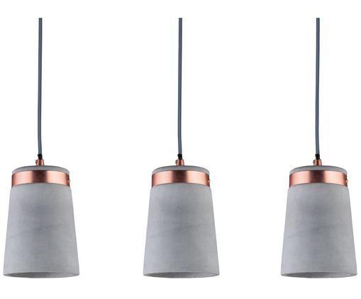 Beton-Pendelleuchte Stig, Lampenschirm: Beton, Betongrau, Kupferfarben, 60 x 17 cm