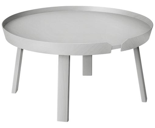 Tavolino da salotto di design Around Large, Legno di frassino verniciato, Grigio, Ø 72 x A 38 cm
