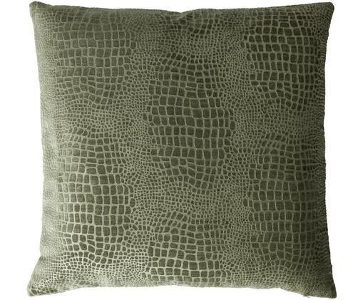 Kissen Croyal Croco, mit Inlett, Bezug: Polyester, Dunkelgrün, 50 x 50 cm