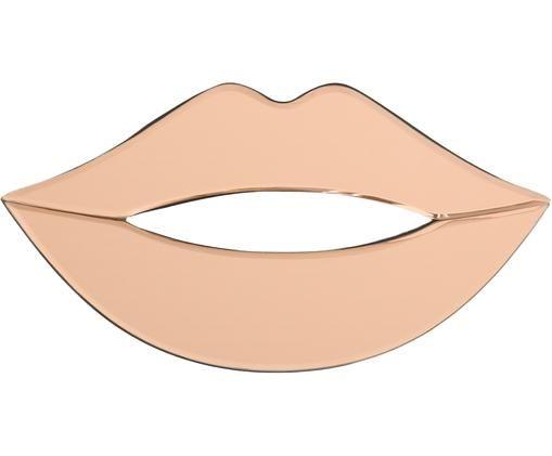 Wandobjekt Lips aus gefärbtem Spiegelglas, Rahmen: Metall, beschichtet, Spiegelfläche: Spiegelglas, gefärbt, Schwarz, Rosa, 40 x 20 cm