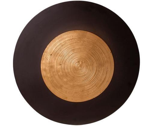 Applique a LED Nitra, Ottone, rivestito, Nero, ottonato, Ø 50 x Prof. 9 cm