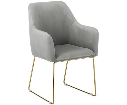 Chaise à accoudoirs en velours Isla, Revêtement: gris Pieds: couleur dorée, brillant