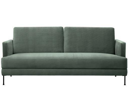 Samt-Sofa Fluente (3-Sitzer), Bezug: Samt (Hochwertiger Polyes, Gestell: Massives Kiefernholz, Füße: Metall, lackiert, Grün, B 197 x T 83 cm