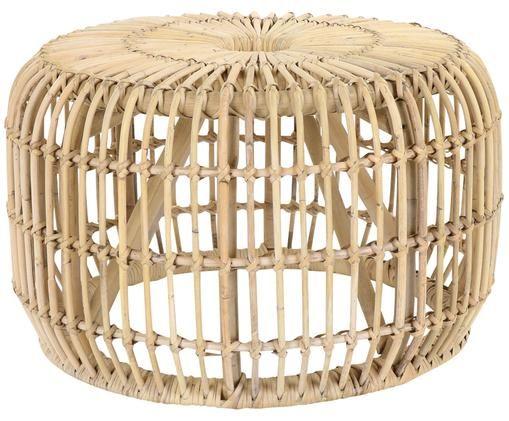 Okrągły stolik pomocniczy z rattanu Kim, Rattan naturalny, Rattan, Ø 60 x W 37 cm