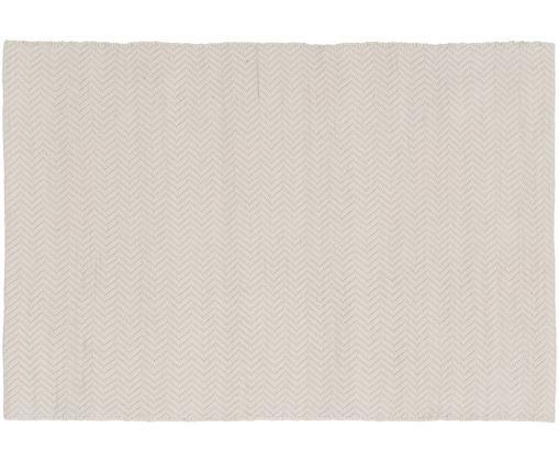 Alfombra artesanal de lana Clara, Parte superior: 70%lana, 30%algodón, Reverso: 70%lana, 30%algodón, Crema, An 160 x L 230 cm (Tamaño M)